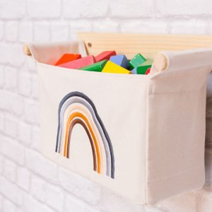 kidsroom organizer with wooden blocks