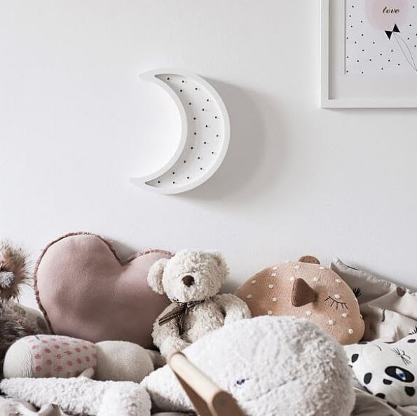 Scandinavian nursery room Scandi style night light white moon led light