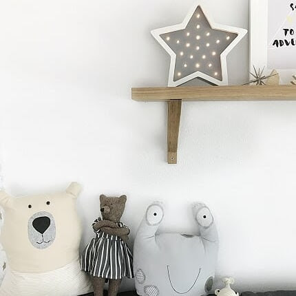 Scandi style night light wooden led light in Scandinavian nursery room