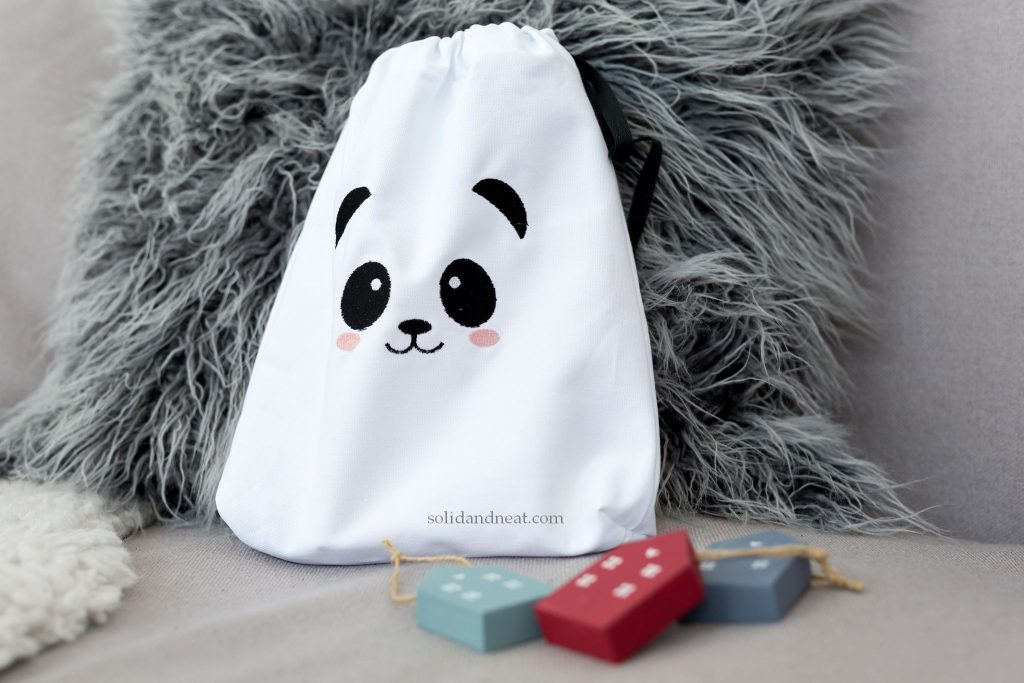 panda face eco fabric bag for toys