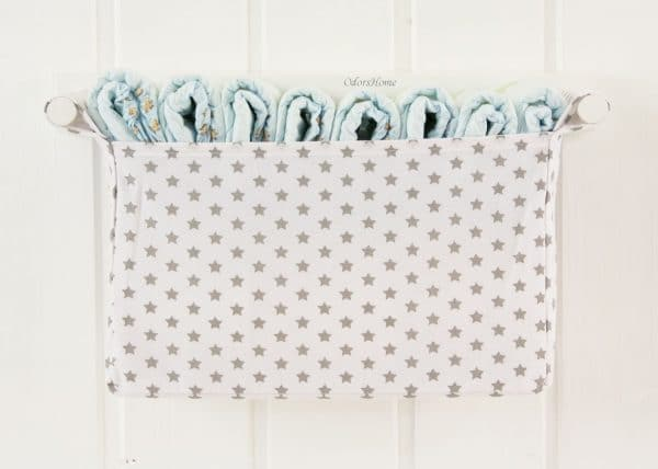 grey and white stars wall mounted organizer