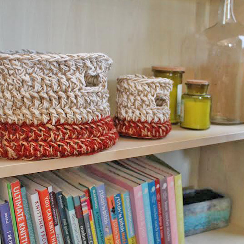 crocheted baskets on shelf to organize a small kids room