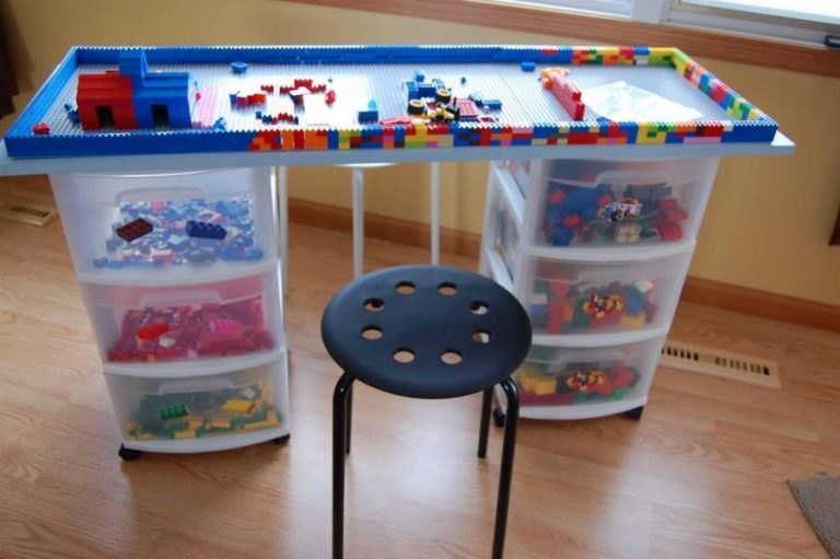table with storage in kids room