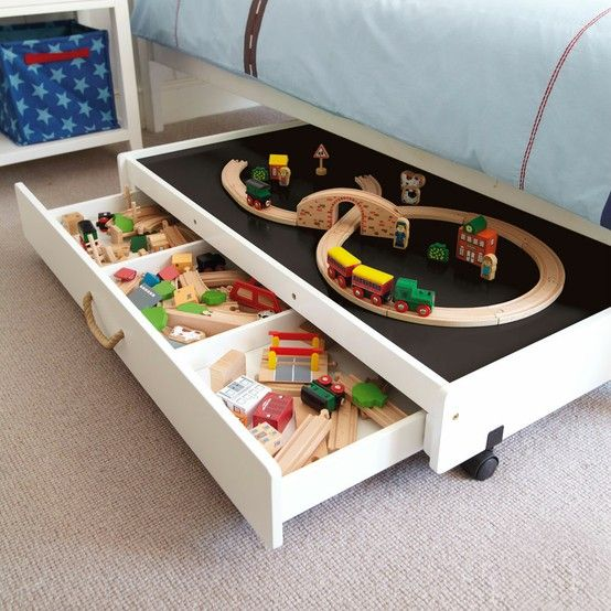 under the bed storage idea for small kids room