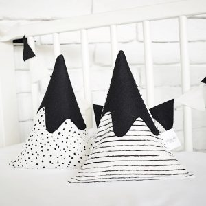 Monochrome mountain pillow solidandneat