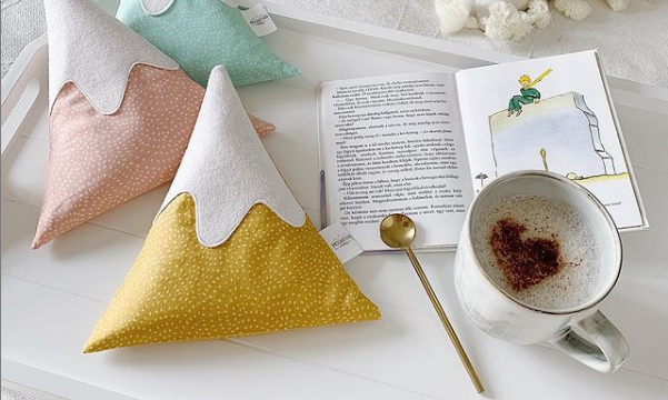 mustard baby mountain pillow with salt